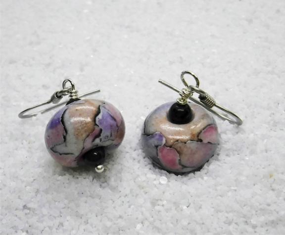 """Watercolor Earrings"" Handmade Polymer Beads"