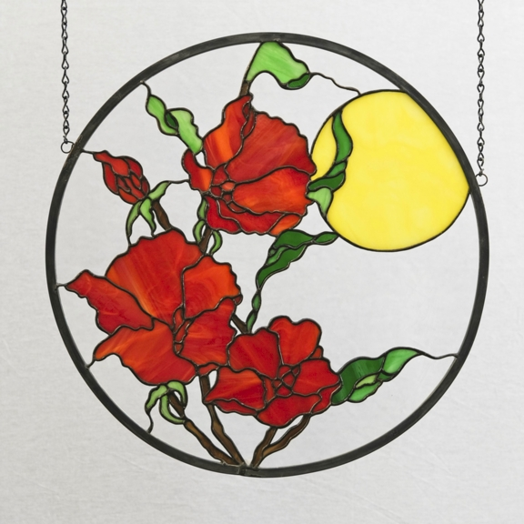"""Red Flowers"" Stained Glass Window Hanging"