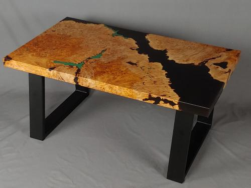 Maple Burl Coffee Table with Chrysocolla